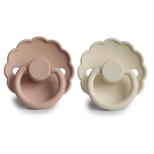 Fopspeenset T1 Daisy 2pack Silicone Blush/Cream - FRIGG