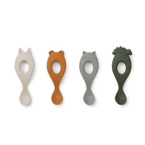 Liva Siliconen Lepels 4 stuks - Hunter green mix - Liewood