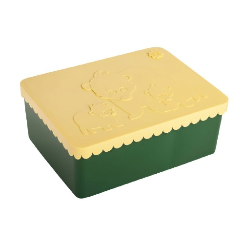 Lunchbox bear Dark green Light yellow - Blafre