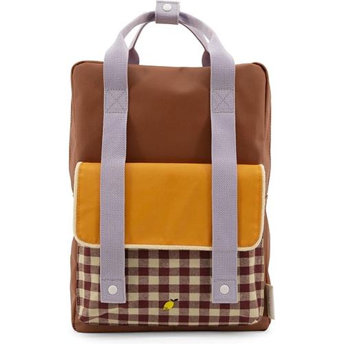 Rugzak Large Gingham Chocolate sundaey | Daisy yellow | Mauve lilac - Sticky Lemon