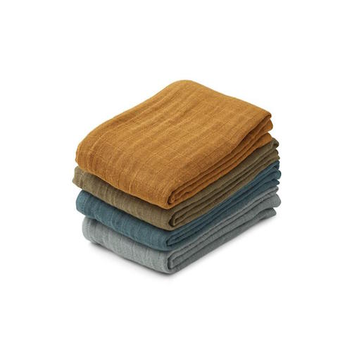 Hydrofiele doeken Leon 4 pack Whale blue multi mix - Liewood