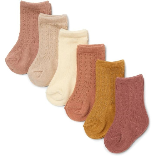 Pointelle sokjes 6-pack Sahara shades - Konges Sløjd