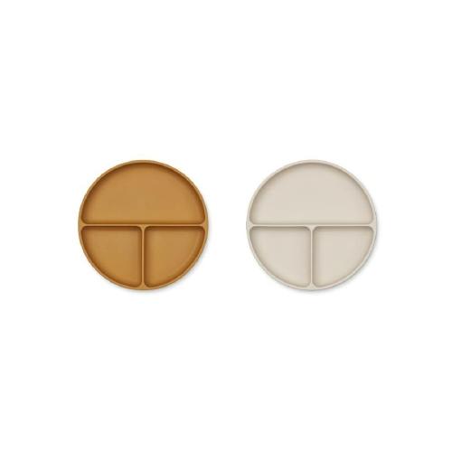 Siliconen vakjesbord Harvey 2-pack - Golden caramel/Sandy mix - Liewood